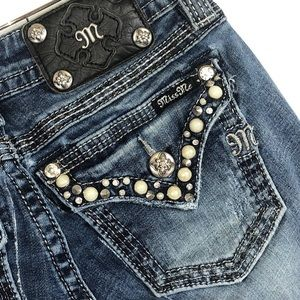 MISS ME Signature Boot embellished Jeans Size 25